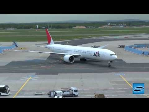 Japan Airlines Boeing 777-300 landing and roll to the Gate at Frankfurt International Airport