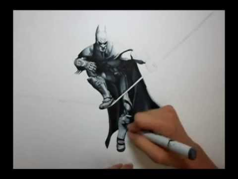 Arkham City: Batman Drawing - YouTube