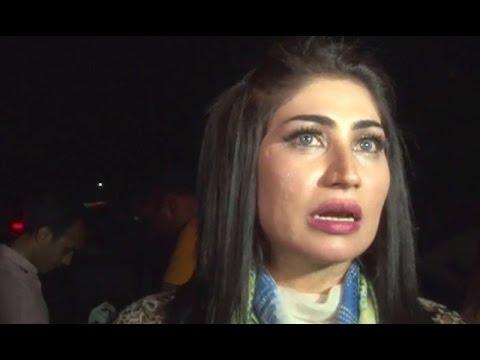 Qandeel Baloch outside PTI jalsa in Lahore