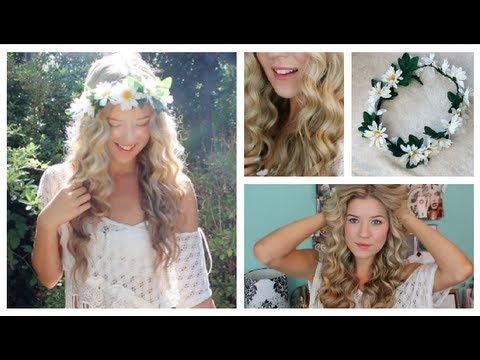 Taylor Swift Curly Hair Tutorial Amp DIY Flower Crown YouTube