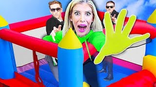 LAST TO LEAVE Bounce House on Roof Wins $10,000! (Game Master Challenge) | Rebecca Zamolo
