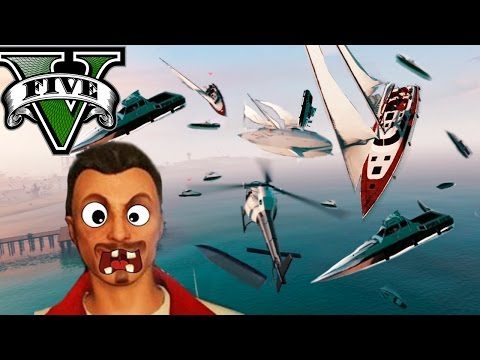 GTA V Online - LLUVIA DE BARCOS!! LOL XD - Persecuci�n con subs! - NexxuzHD