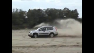 Rexton, X-Trail and Grand Vitara offroad, the dry river-bed of the river Desna
