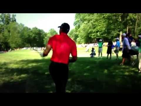 Tiger Woods incredible shot from behind of tree at AT&T national
