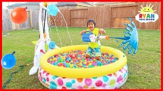 Little Tikes Drop Zone Water Recreation Pool Playtime with Ryan!!!
