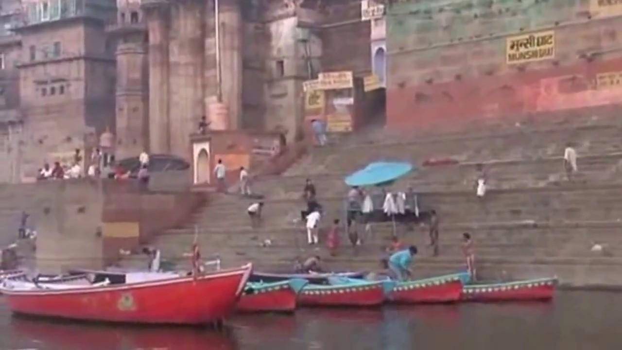 Holy sensation on the bank of river Varanasi Ganges - YouTube