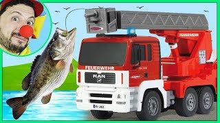 Clown Bob & Construction Emergency Vehicles RC Firetruck rescue Fish