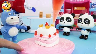 Baby Panda Makes Fruit Cakes | Alien Robot Invades Panda's City | Toy Story | ToyBus