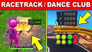 SEARCH CHESTS OR AMMO BOXES AT A RACETRACK OR A DANCE CLUB LOCATION (Fortnite Overtime Challenges)