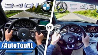 BMW 340i vs Mercedes AMG C43 ACCELERATION & TOP SPEED 0-250 km/h AUTOBAHN POV by AutoTopNL