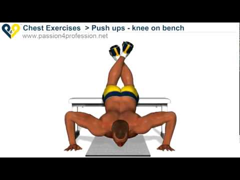 Tập cơ tay - Cơ tay sau - Vai - Ngực - Push ups - knee on bench