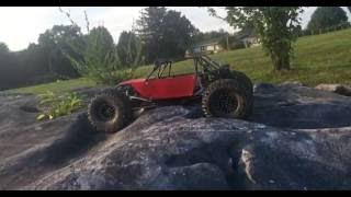 Rc rock buggy!! Rock jumping and night time crawling!! Scale rc tube chassis!