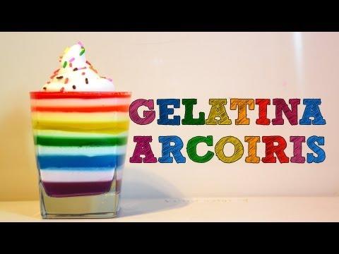 GELATINA ARCOÍRIS | Recetas de cocina fáciles | Recetas de Postres fáciles y rápido sin horno