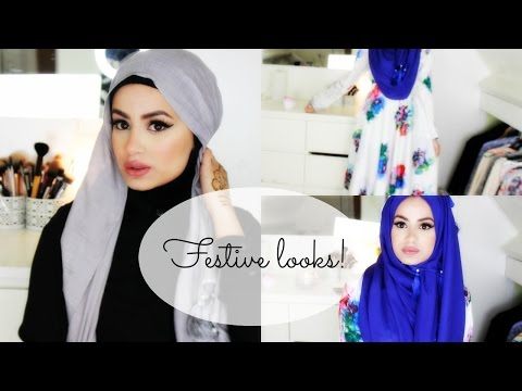 Hijab Tutorial and Looks for Festive Occasions! - YouTube