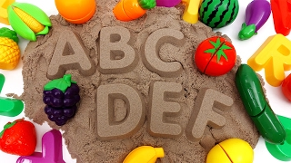 Learn Names of Fruits and Vegetables with Kinetic Sand~ Do You Know Them All?