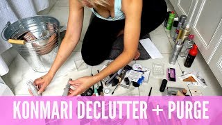 KONMARI METHOD DECLUTTER ALL MAKEUP | KONDO BEFORE AND AFTER | AmandaMuse
