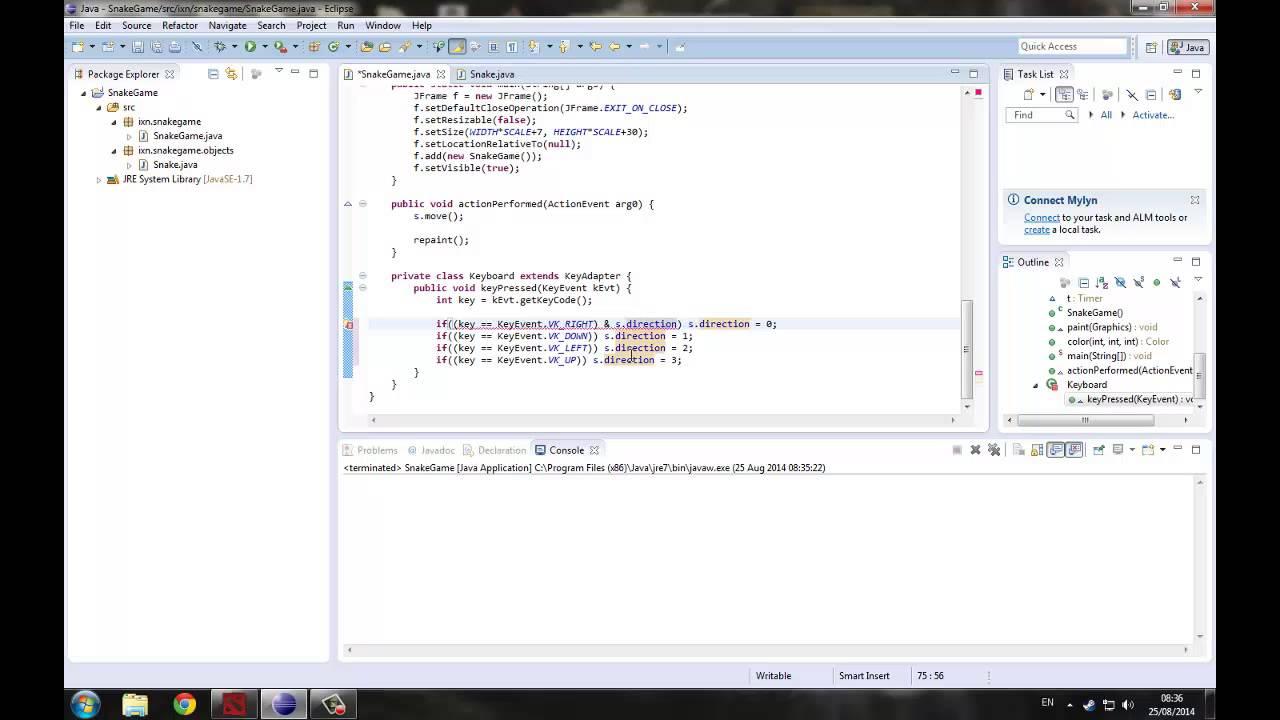 Пишем змейку на Java - Часть 3 (Управление змейкой) - YouTube