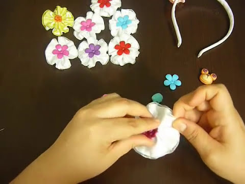 tutorial de flores en cinta para decorar accesorios  video No.003.Manualidades la hormiga