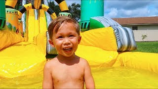 Jackson's Three Year Old Birthday Party (HUGE Waterslide)