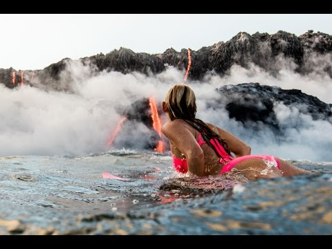 Alison Teal Tries Surfing Hawaii Volcano Eruption