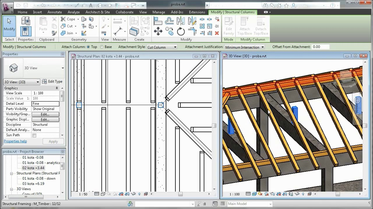 Autodesk Revit Wooden Roof Structure Youtube