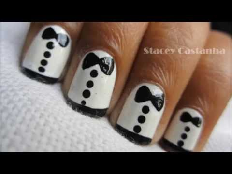 How to easy tuxedo nail design tutorial | Zooey Deschanel Inspired (Reupload)