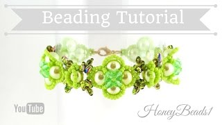Butterflies in Spring Garden Bracelet Beading Tutorial by HoneyBeads1 (with superduo beads)
