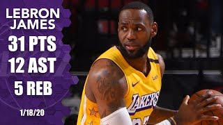LeBron records double-double of 31 points, 12 assists in Lakers vs. Rockets | 2019-20 NBA Highlights