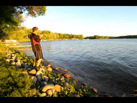 The big one hits.  Fishing in Minnesota