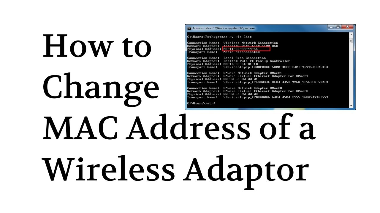 how to spoof change mac address of wireless adapter by tech compass youtube. Black Bedroom Furniture Sets. Home Design Ideas