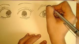 Drawing different charcoal Anime eyes 👉👉 karakalem 4 tane farklı anime göz çizimi