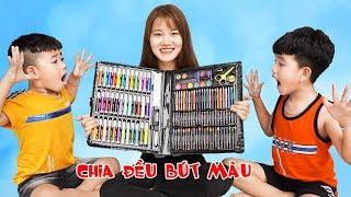 Trò Chơi Chia Đều Bút màu - Người Chị Công Bằng ♥ Min Min TV Minh Khoa