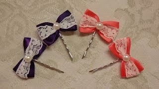 DIY bow hairpins with lace, easy ribbon hairbows tutorial,how to