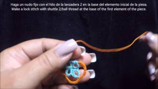 frivolite tatting lesson 161-  hide ends in the last chain - esconder cabos en la ultima cadena