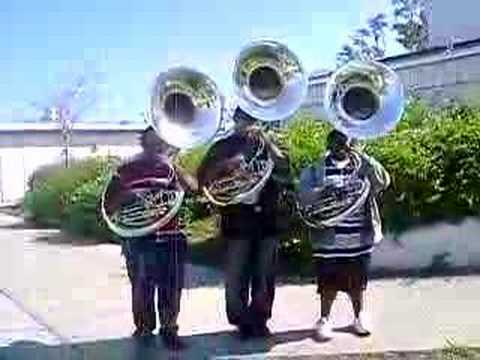 tubas playing pink panther