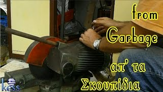 How to Build a Steel Structure House Part3 Disk Saw Machine from Garbage Δισκοπρίονο απ τα σκουπίδια