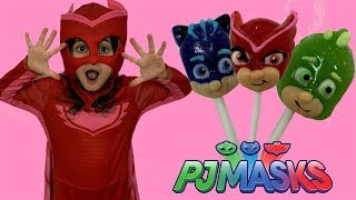 Sally Pretend Play Hide and Seek with Disney PJ Masks Lollipop candy