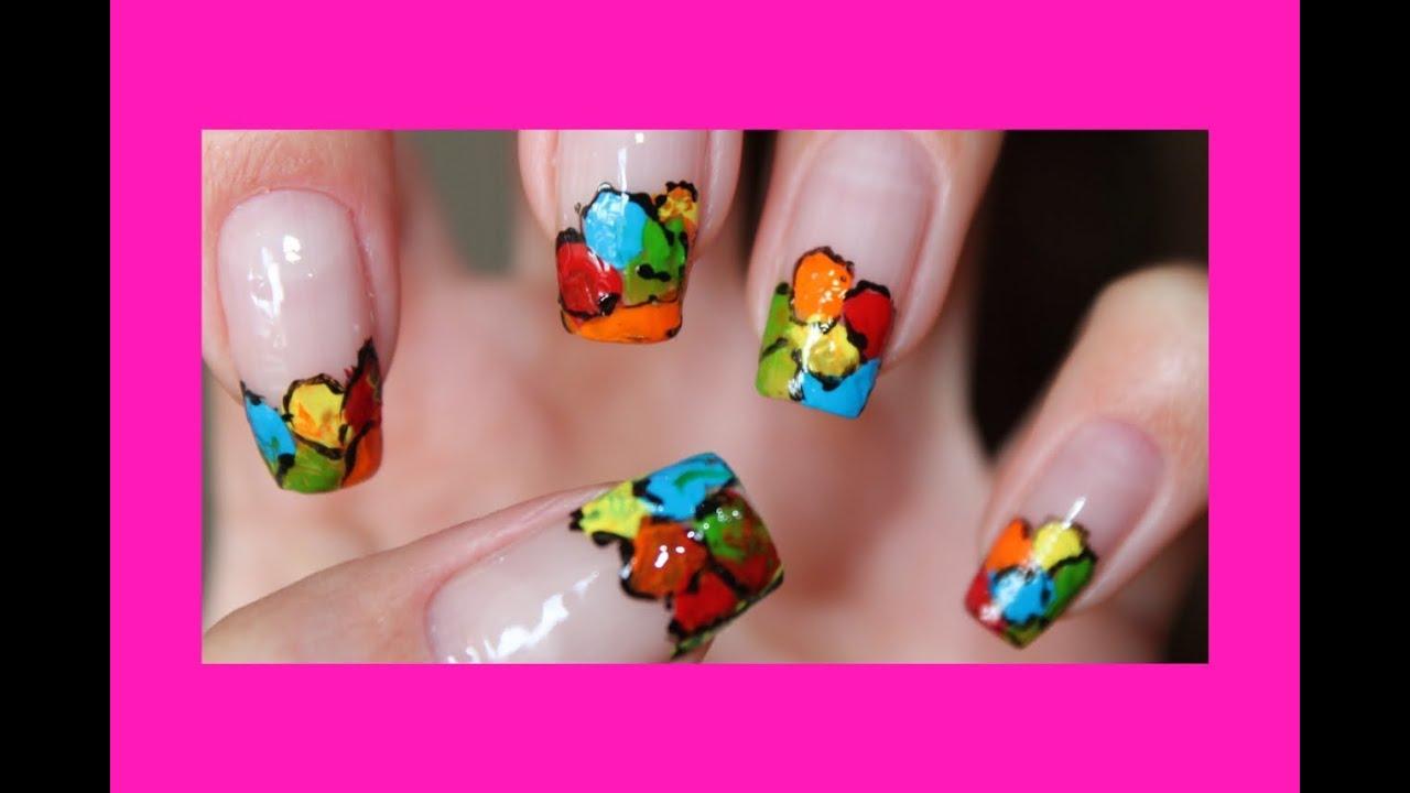 Как рисовать цветы акриловыми красками на ногтях пошагово фото