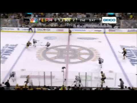 Patrice Bergeron snapshot PPG 2-0. 6/17/13 Chicago Blackhawks vs Boston Bruins NHL Hockey