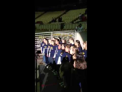 Notre Dame High School Belmont choir at Bulls Game