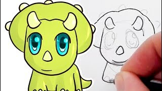 How to draw triceratops Small