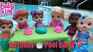 Baby Alive Mermaid Birthday Pool Party Cake 🎂 Ice Cream 🍦