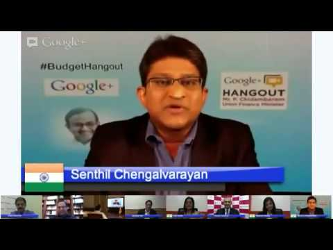 Google+ Hangout with Union Finance Minister Mr. P Chidambaram. Introduction.