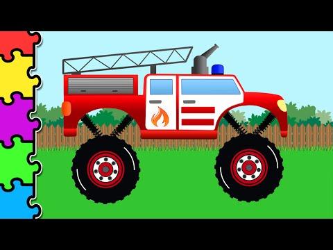 Машинки. Пожарная Машина Монстр Трак.  Мультик Пазл