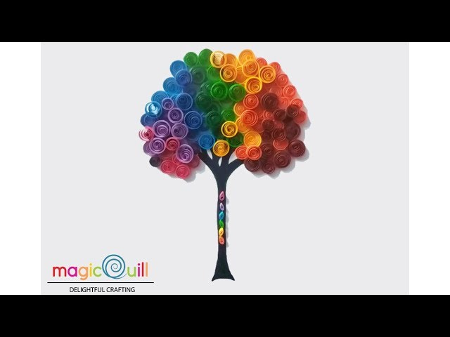 DIY  quilled rainbow tree wall art  Quilling for beginners  Magic Quill