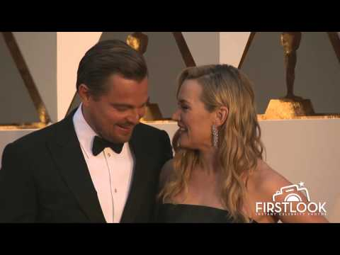 Kate Winslet and Leonardo DiCaprio arrive at the 2016 Oscars in Hollywood