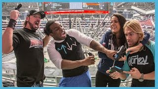 Superstars compete in WWE 2K16 Big Screen Battle on the massive AT&T Stadium