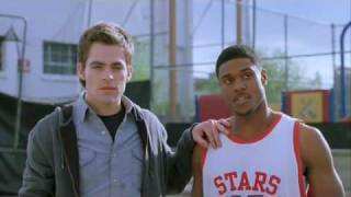 """Pooch Hall and Chris Pine in """"Blind Dating"""" Basketball scene"""
