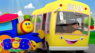 Yellow Wheels On The Bus | Bob The Train Nursery Rhymes | Videos For Babies | Kindergarten Songs