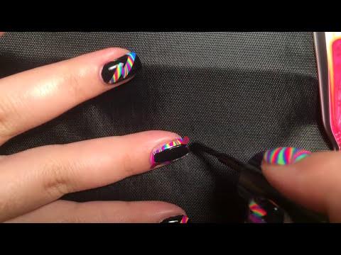 Striped Rainbow Water Marble Nail Art Tutorial
